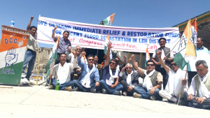 LAHDC Leh accuses govt of releasing insufficient funds for flood victims, stage demo