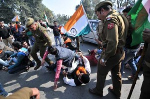 ABVP activists block road, clash with police over JNU incident