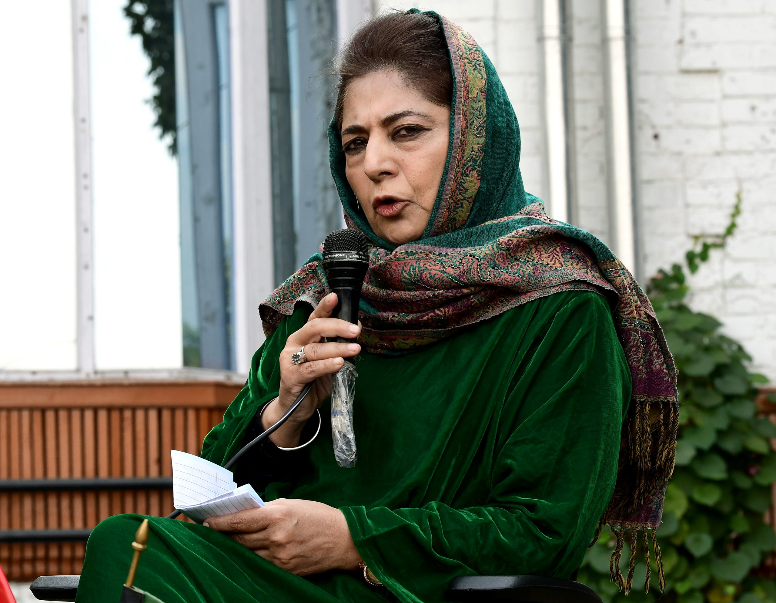 PDP President Mehooba Mufti addressing media during a press conference